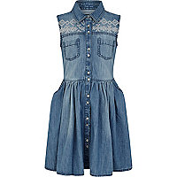 Girls blue denim aztec stud shirt dress