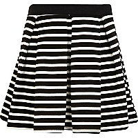 Girls black stripe box pleat skater skirt