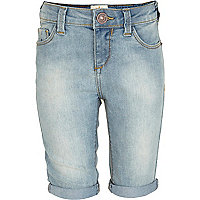 Girls blue light wash long denim shorts