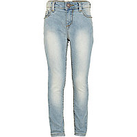 Girls blue bleach wash skinny jeans