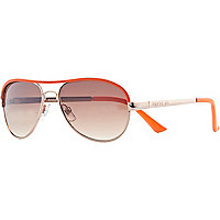 Girls coral neon aviator sunglasses