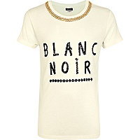 Girls white blanc noir chain t-shirt