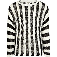 Girls black and white striped jumper