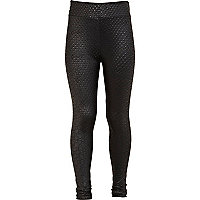 Girls black wet look snake leggings