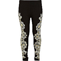 Girls black lace floral leggings