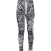 Girls grey digital print leggings
