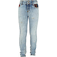Girls blue light was aztec trim jeans