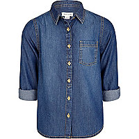 Girls blue mid wash denim shirt