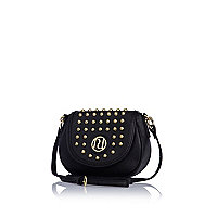 Girls black studded cross body bag
