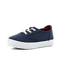 Girls navy chunky plimsolls