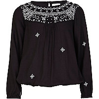 Girls black embroidered trapped hem shirt