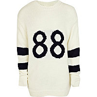 Girls cream 88 varsity jumper