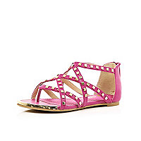 Girls pink studded gladiator sandals