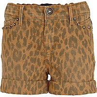 Girls brown leopard print shorts