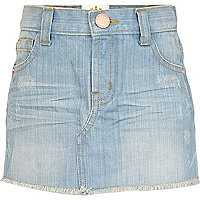 Girls blue light wash denim skirt