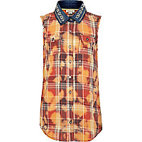 Girls red check acid wash shirt