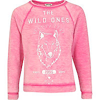 Girls pink the wild ones sweat top