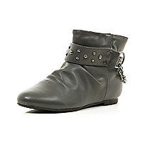 Girls grey slouch ankle boots