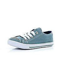Girls blue denim diamante canvas plimsolls