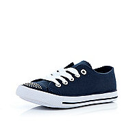 Girls navy diamante canvas plimsolls