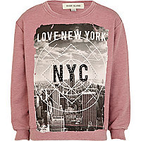 Girls pink love New York print sweat top
