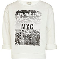 Girls cream love New York print sweat top