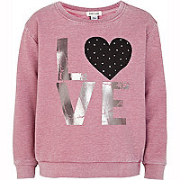 Girls pink studded love heart sweat top