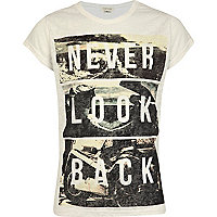 Girls white never look back burnout t-shirt