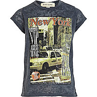Girls blue New York magazine print t-shirt