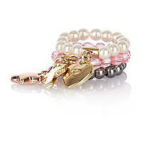 Girls pink multi ring with charm