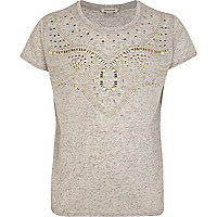 Girls grey Western studded t-shirt