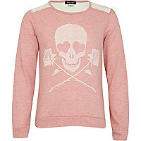 Girls pink skull print dolman top