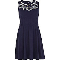 Girls navy cut out dress
