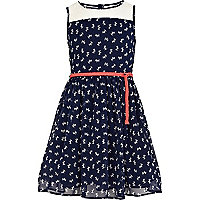Girls navy dog print prom dress