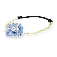 Girls blue floral and pearl headband
