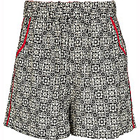 Girls black aztec print shorts