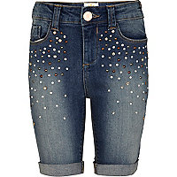 Girls mid wash long denim studded shorts