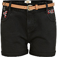 Girls black aztec detail denim shorts
