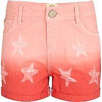Girls red dip dye star shorts
