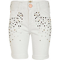 Girls white embellished denim shorts
