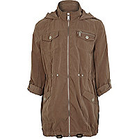 Girls light brown utility parka jacket