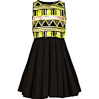 Girls black aztec embellished prom dress