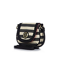Girls blue stripe cross body bag