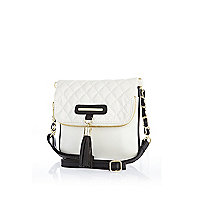 Girls white quilted fold over bag