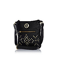 Girls black studded messenger bag