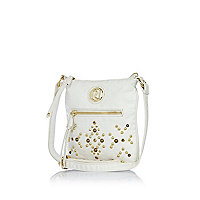 Girls white studded messenger bag