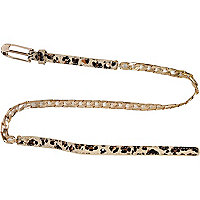 Girls brown leopard print chain belt