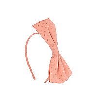 Girls pink studded bow headband