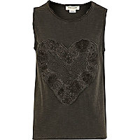 Girls dark grey crochet heart vest top