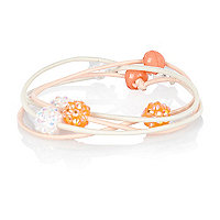 Girls coral four pack crystal hairbands